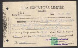 PAKISTAN 1972 Money Receipt Document From Film Exhibitors Limited Karachi With 40 Paisa Revenue Stamp 16-10-1972 - Pakistan