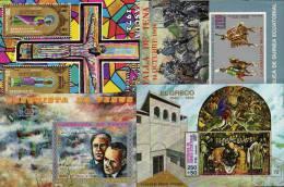 Lot Motive Äqatorial Guinea 8Block **/o 20€ Kunst Sport Easter Reiten Venus Gemälde Olympic Lauf Bf Bloc Sheet Of Africa - Stamps