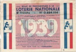 Billet De Participation De 1939 4ème Tranche - Billets De Loterie
