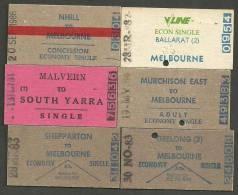 QN100 AUSTRALIA Victoria 6 Tickets 1981-86 Nhill Malvern Shepparton Geelong Murchison Ballarat - Railway