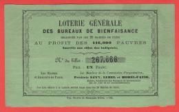 ancien billet - LOTERIE au profit des pauvres de PARIS - 1852