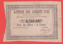 ancien billet - LOTERIE des LINGOTS d' OR - décret du 3 août 1850