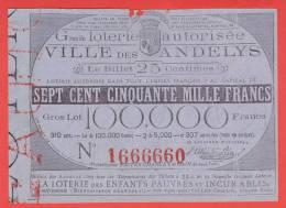 ancien billet - LOTERIE de l´EMPIRE Français ville LES ANDELYS - 1860