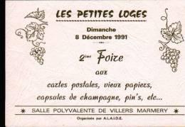 51 - VILLERS MARMERY  - 8 DECEMBRE 1991 - 2 ème FOIRE AUX CARTES POSTALES, VIEUX PAPIERS, CAPSULES DE CHAMPAGNE, ..- CPM - Bourses & Salons De Collections