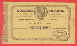 ancien billet - LOTERIE PICARDE construction du MUSEE  à AMIENS - 1852