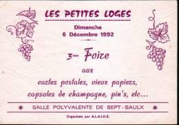 51 - SEPT SAULX - 6 DECEMBRE 1992 - 3ème FOIRE AUX CARTES POSTALES... - CPM - Bourses & Salons De Collections