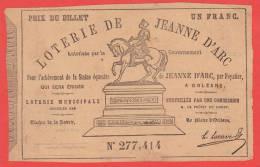 ancien billet - LOTERIE de JEANNE d' ARC pour l'achèvement de la Statue à ORLEANS - 1855