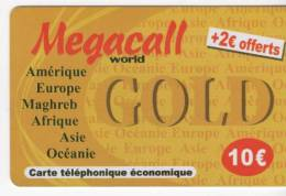 Carte Téléphonique économique - Megacall World - GOLD 10 € + 2 € Offerts - Frankrijk