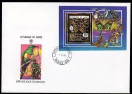 BUTTERFLY/SCOUTING Gold S/Sheet Guinee  FDC High Value 1990.Cat Value Sheet Already 45€ - Butterflies