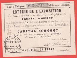 Ancien Billet - LOTERIE De L´Exposition ARMEE D´ORIENT - 1854 - Biglietti Della Lotteria