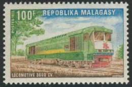 Madagascar Malagasy 1972 Mi 656 ** 3600 CV Diesel Locomotive – Malagasy Economic Development / 3600 CV Diesel Locom - Treinen
