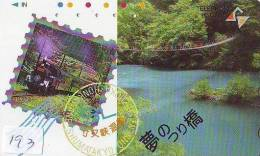 TEMBRE Sur Télécarte Japon * Stamp On Japan Phonecard (193) Briefmarke Auf TELEFONKARTE * TRAIN - Timbres & Monnaies