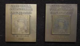 M00949 Club Royal Philatélique Bruxellois 1960 Et 1974, Un Timbre En Taille Douce (128 G. Les 2) - Firma's