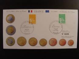 ADIEU AU FRANC INTRODUCTION EURO COUNCIL CONSEIL EUROPE BUREAU DU COURRIER TIRAGE LIMITE 600 EX. FRANCS EUROS - Unclassified