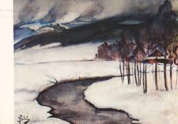 21879 Julian Falat (1853-1929) Pejzaz Zimowy Z Bystrej Akwarela Muzeum Okregowe W Bielsku Bialej -prawa - Peintures & Tableaux