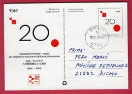 20th ANN. OF THE ESTABLISHMENT OF DIPLOMATIC RELATIONS BETWEEN JAPAN AND CROATIA ( Croatia Postal Stationery ) Political - Stamps