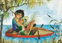 21891 Couple Barque Amoureux Vintage Année 70, Dessin Samor Illustrateur - Couples