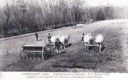 CPA EDIT. AGRICULTURE LIANCOURT OISE 60140 ETABLISSEMENTS BAJAC SEMOIR EN LIGNES ET HERSE ECROUTEUSE EMOTTEUSE ATTELAGE - Liancourt