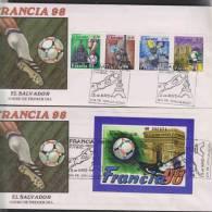 O) 1998 EL SALVADOR, FIFA WORLD CUP, FDC FOR 2,MNH. - El Salvador