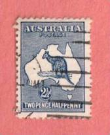 AUS SC #4 Used - 1913 Kangaroo And Map, Heavy Coastline Variety, CV $22.50+ - Used Stamps