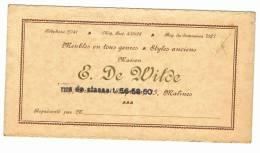 Carte De Visite - Maison E. DE WILDE - Mechelen - Malines - Meubelen - Meubles   (k) - Cartes De Visite