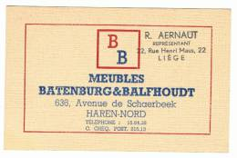 "Carte De Visite - BATENBURG & BALHOUDT  ""BB""   - HAREN - Nord - Meubelen - Meubles  - Liège  (k) - Cartes De Visite"