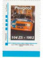 Doubs  -  Sochaux    - Peugeot   104 ZS - 1982 - Gepersonaliseerde Postzegels (MonTimbraMoi)