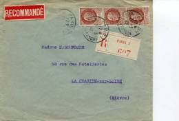 PARIS 1 RUE DE LA BANQUE LSC Recommandée Du 24:03:1942 - Marcophilie (Lettres)