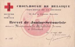 Croix Rouge Belgique, Rue Livourne Bruxelles, Brevet Junior-secouriste, Sibotton Simone Etterbeek 1937 - Diplômes & Bulletins Scolaires