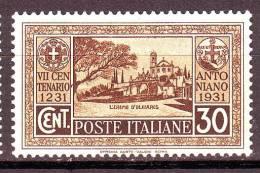 REGNO 1931 N. 294 30c. BRUNO NUOVO** 1 VALORE - Neufs