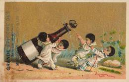 Chromo Dorée Pierrot Enfant Bouteille Champagne Maussoin Galerie Saint Hubert Bruxelles Litho Mertens - Chromos