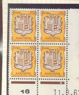 ANDORRE FRANCAIS - Y&T N°157 -  Coin Daté  4 TP **  Du 11/09/1962 - French Andorra