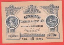 Ancien Billet - LOTERIE Exposition De LYON - 1894