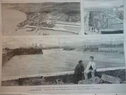 Saint Nazaire , Vue Générale Et Bassins De Construction , Bassin Penhouet , Gravure Lepére Dessin Clerget 1881 - Historical Documents