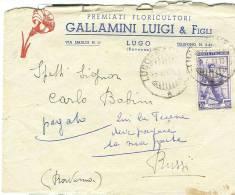 GALLAMINI. LUGO, RAVENNA, FLORICULTORI, BUSTA COMMERCIALE  VIAGGIATA  1951, TIMBRO POSTE LUGO X RUSSI RAVENNA, - B. Piante Fiorite & Fiori