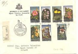 SAN MARINO, 1967, Fiori, Busta Con Annullo Primo Giorno Emissione - San Marino
