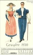 Couple En Bredzon Et Dzaquillon, Festival Grevire 1930, Carte-tombola, Dessin P. Dupasquier - Costumes