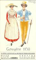 Couple En Ancien Costume Gruérien. Festival Grevire 1930, Carte-tombola, Dessin P. Dupasquier - Costumes