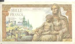 """BILLET De 1000 FRANCS """" Déméter """" état Moyen ( Voir Scans ) - 1 000 F 1942-1943 ''Déesse Déméter''"""