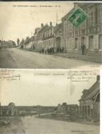 02 CPA Le Catelet Grande Rue Ruines Guerre Et Animation 2 Cartes - Autres Communes