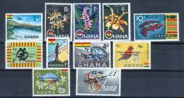 "Ghana 1965 Various Subjects Surcharged "" Ghana New Currency"" MNH** - Lot. 1983 - Ghana (1957-...)"
