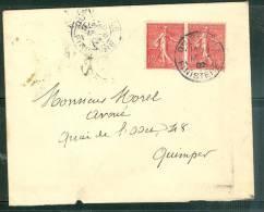 Yvertb N° 129 C PAIRE SUR LETTRE Oblitéré Cad Quimperlé ( Finistère ) En 1902 - Ax5109 - 1877-1920: Semi Modern Period