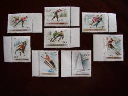 HUNGARY 1955  WINTER SPORTS ´AIR´ Issue Of EIGHT Values To 2 Fo ALL Corner Of Sheet Marginals MNH. - Hongarije