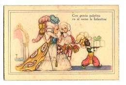 Ilustración - Rimas - Crinolina,baile, Carta Ilustrada Antigua  - Con Gracia Palatina    Va Al Sarao La Infantina - - Ilustradores & Fotógrafos