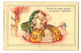Ilustración - Rimas - Crinolina,baile Minués Y Rigodones, Carta Ilustrada Antigua  - Triunfo De Regios Salones - Ilustradores & Fotógrafos