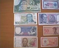 LOTTO 8 BANCONOTE STRANIERE FIOR DI STAMPA (A) - Banconote