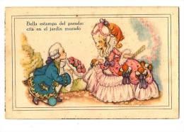 Ilustración - Rimas - Crinolina, Romance,  Carta Ilustrada Antigua  - Bella Estampa Del Pasado:cita En El Jardin Murado - Ilustradores & Fotógrafos