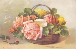 CARD KLEIN  BOUQUET DI ROSE  IN CESTO   -FP-N-2-0882-15229 - Klein, Catharina