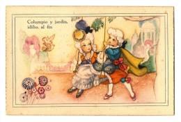 Ilustración - Rimas - Crinolina, Romance,  Carta Ilustrada Antigua  - Columpio Y Jardin, Idilio, Al Fin - Ilustradores & Fotógrafos