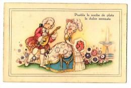 Ilustración - Rimas - Crinolina, Romance,  Carta Ilustrada Antigua  -Puebla La Noche De Plata, La Dulce Serenata - Ilustradores & Fotógrafos
